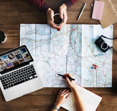 travelers planning vacation